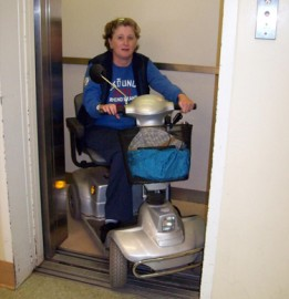 Trisha Clarkin of Charlottetown said in September 2009 she cannot access the elevator at the Confederation Centre Library in her scooter without help. (Guardian photo)