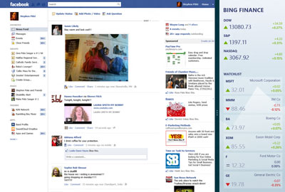 Swipe to include a 2nd app (Bing Finance) with Facebook (illustration NJN Network)