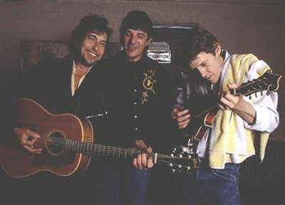 Bob Dylan, Rick Danko and Levon Helm at the Lonestar 1983