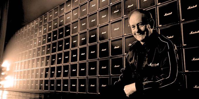 James Marshall and a wall of Marshall Amps (photo Marshall Amplifiers)