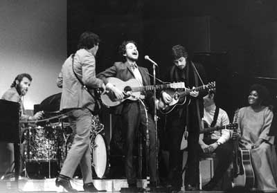 Levon Helm (far left) with Bob Dylan and The Band, Carnegie Hall 1968 (Washington Post / AP Photo)