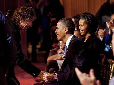Bob Dylan greeting President Obama and First Lady Michelle