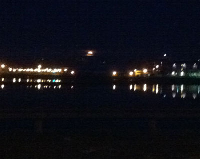 Perigee moon over Charlottetown harbor (photo Stephen Pate)