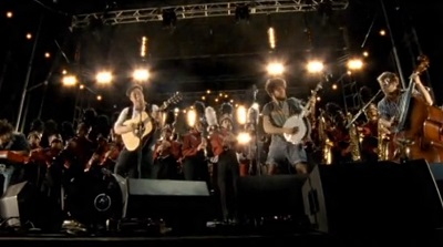 Mumford and Sons with Austin High School Marching Band (photo stills copyright S2BN Holdings)
