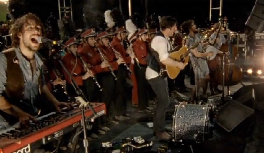 Mumford and Sons performing with the Austin High School Marching Band in Big Easy Express  (photo stills copyright S2BN Holdings)