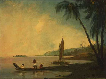 Point Venus, Tahiti, where Cook and his men observed the transit of Venus. Oil on canvas, William Hodges, 1744-1797. Credit: National Library of Australia.