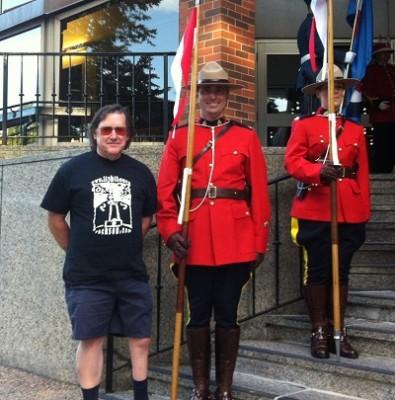 Stephen Pate and RCMP honor guard outside the Royal NS Tattoo (photo E. Larkin)