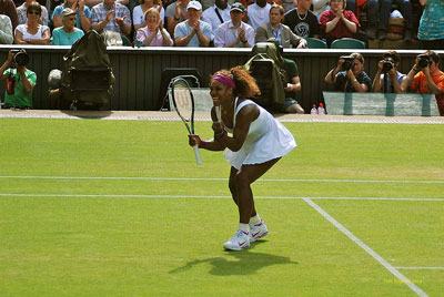 Serena Williams on the court at Wimbledon 2012 (photo by Peter Edgeler)