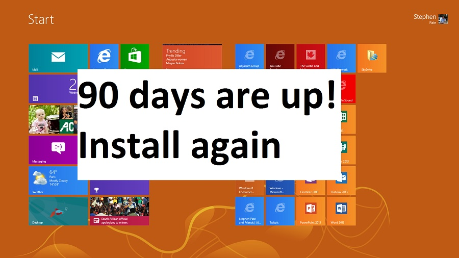 Windows 8 RTM free license expires in 90 days