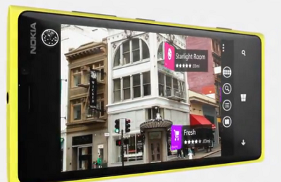 Nokia 920 City View with linkable labels on pictures (Nokia Corp image)