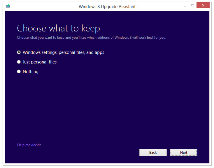 windows 8 upgrade assistant what to keep njn network