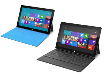 Surface RT with cyan Touch Cover and black Type Cover (right lower)