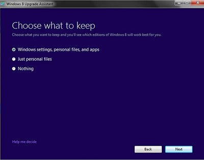 Windows 8 Upgrade Assistant Choose what to keep