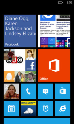 Windows Phone 8 on Nokia 920 home screen
