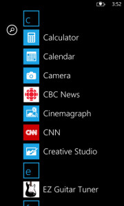 Windows Phone 8 app listing – the alphabetic listing is automatic and dynamic
