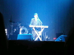 Leonard Cohen on keyboard in Halifax from 4th row center (Blackberry photo)