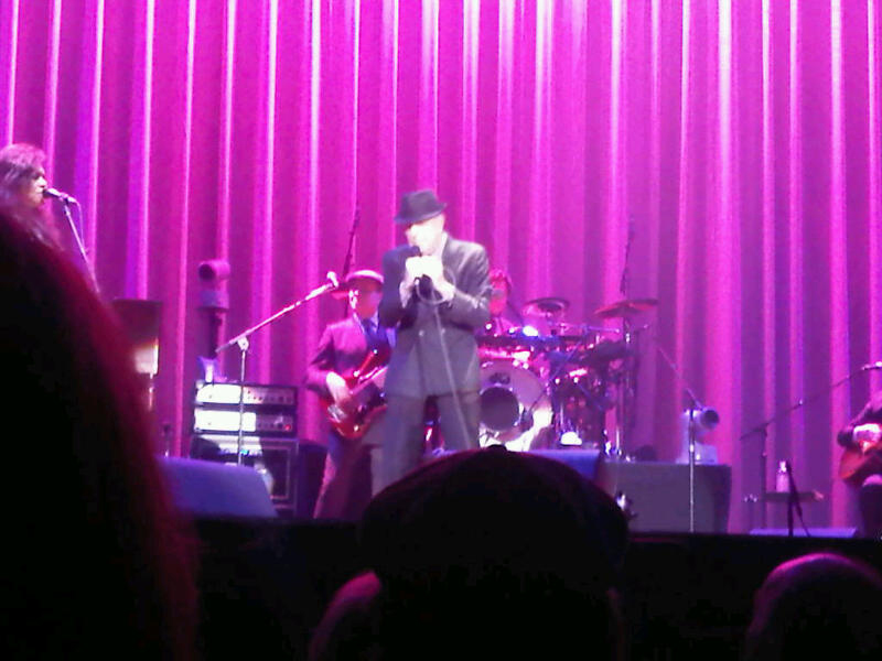 Leonard Cohen on stage Halifax NS (Blackberry photo)