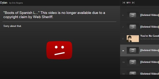 Web Sheriff is back deleting Bob Dylan videos from YouTube