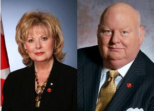 Canadian Senators and former journalists Pamela Wallin and Mike Duffy