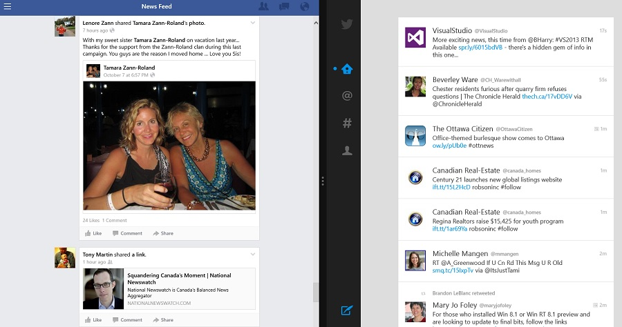 Splitting the Windows 8.1 screen with Facebook and Twitter (Photo Stephen Pate/NJN)