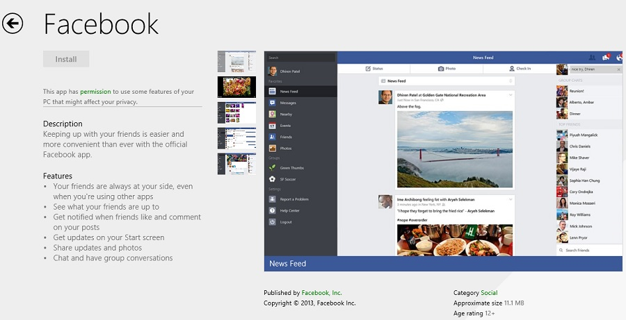 Windows 8.1 gets native Facebook app (photo Stephen Pate/NJN)
