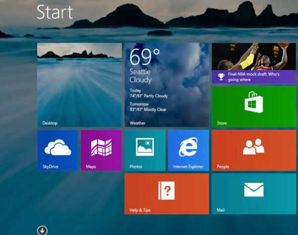 Windows 8.1 Modern Start Screen with the same background as the Desktop